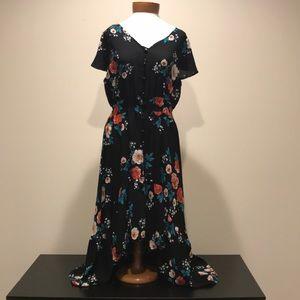 Floral high-low hem dress